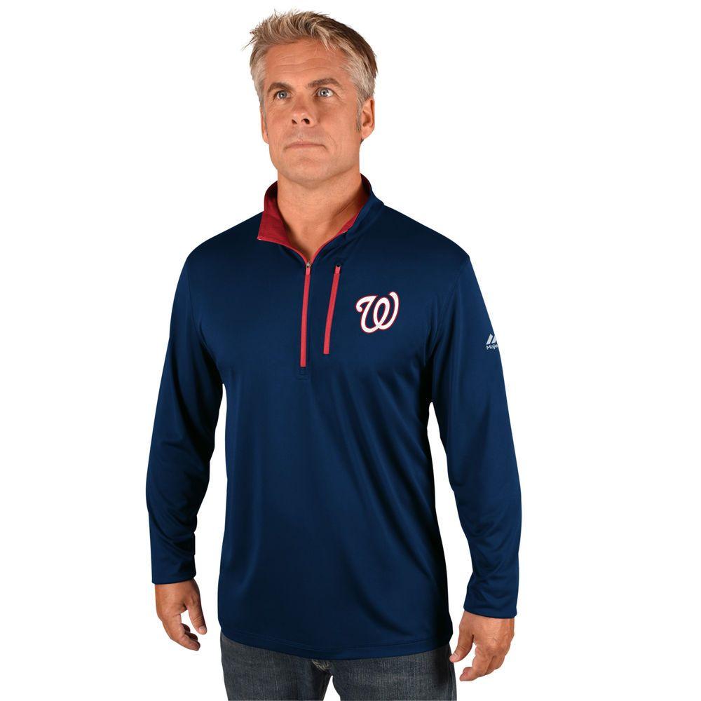 マジェスティック Majestic メンズ トップス【Washington Nationals Big Quarter Zip Jersey Pullover (Big & Tall)】Red