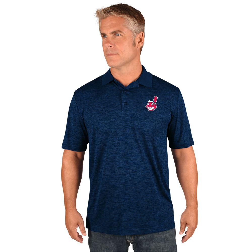 マジェスティック Majestic メンズ トップス ポロシャツ【Cleveland Indians Big Logo Polo (Big & Tall)】Navy