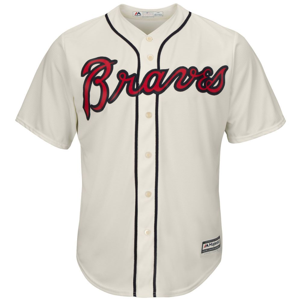 マジェスティック Majestic メンズ トップス【Atlanta Braves Adult Cool Base Replica Jersey】Ivory