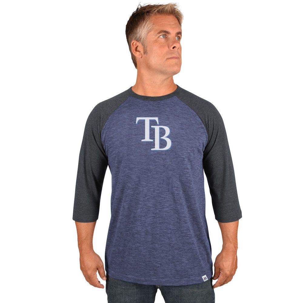 マジェスティック Majestic メンズ トップス【Tampa Bay Rays Adult 3/4 Sleeve Top】Navy