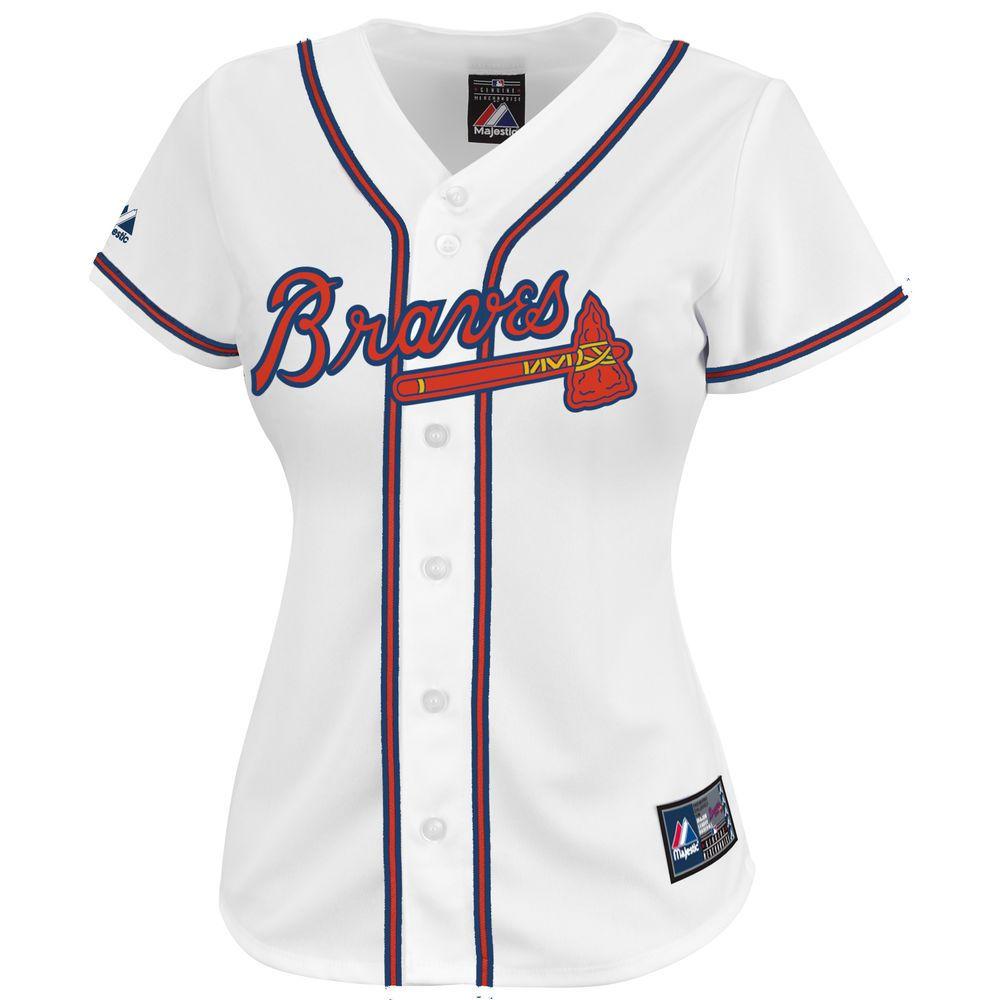 マジェスティック Majestic レディース トップス【Atlanta Braves Plus Size Cool Base Jersey】White