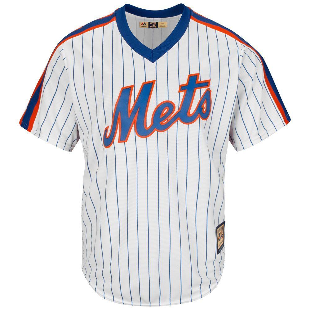 マジェスティック Majestic メンズ トップス【New York Mets Big Cooperstown Collection Cool Base Jersey (Big & Tall)】White/Blue