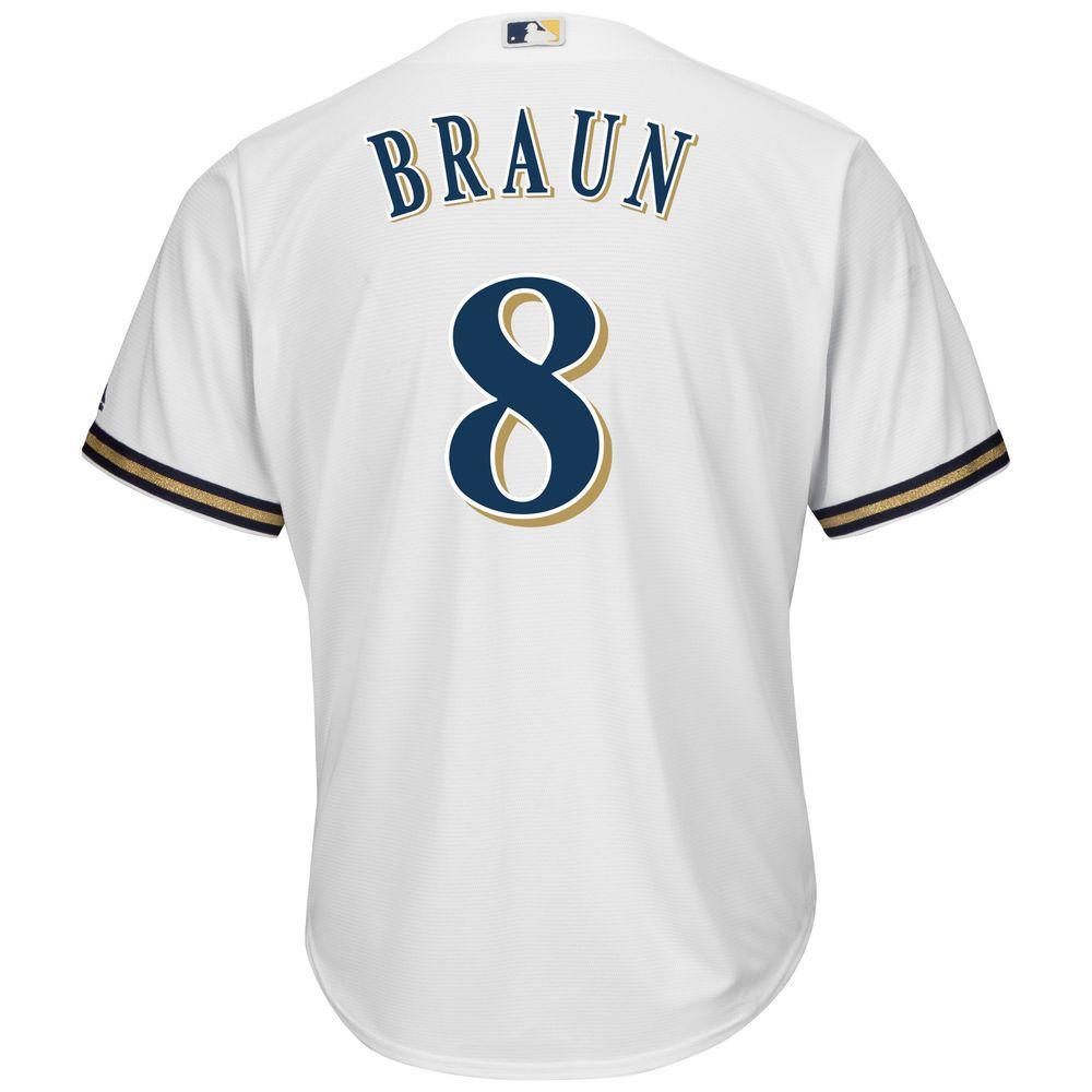 マジェスティック Majestic メンズ トップス【Milwaukee Brewers Ryan Braun Adult Cool Base Replica Jersey】White