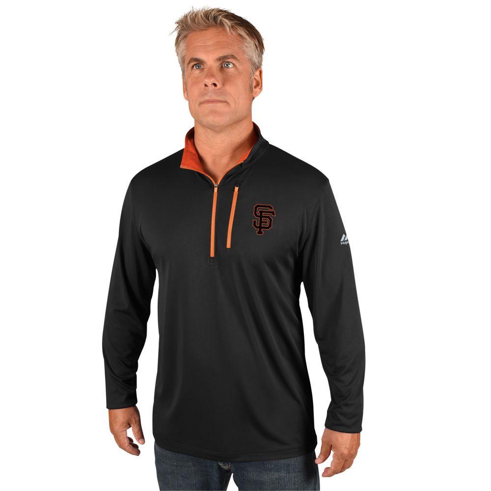 マジェスティック Majestic メンズ トップス【San Francisco Giants Big Quarter Zip Jersey Pullover (Big & Tall)】Black