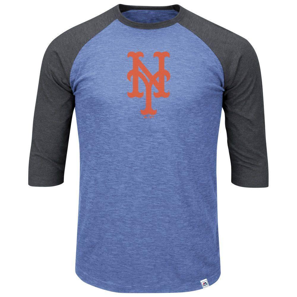 マジェスティック Majestic メンズ トップス【New York Mets Adult 3/4 Sleeve Top (Big & Tall)】Royal