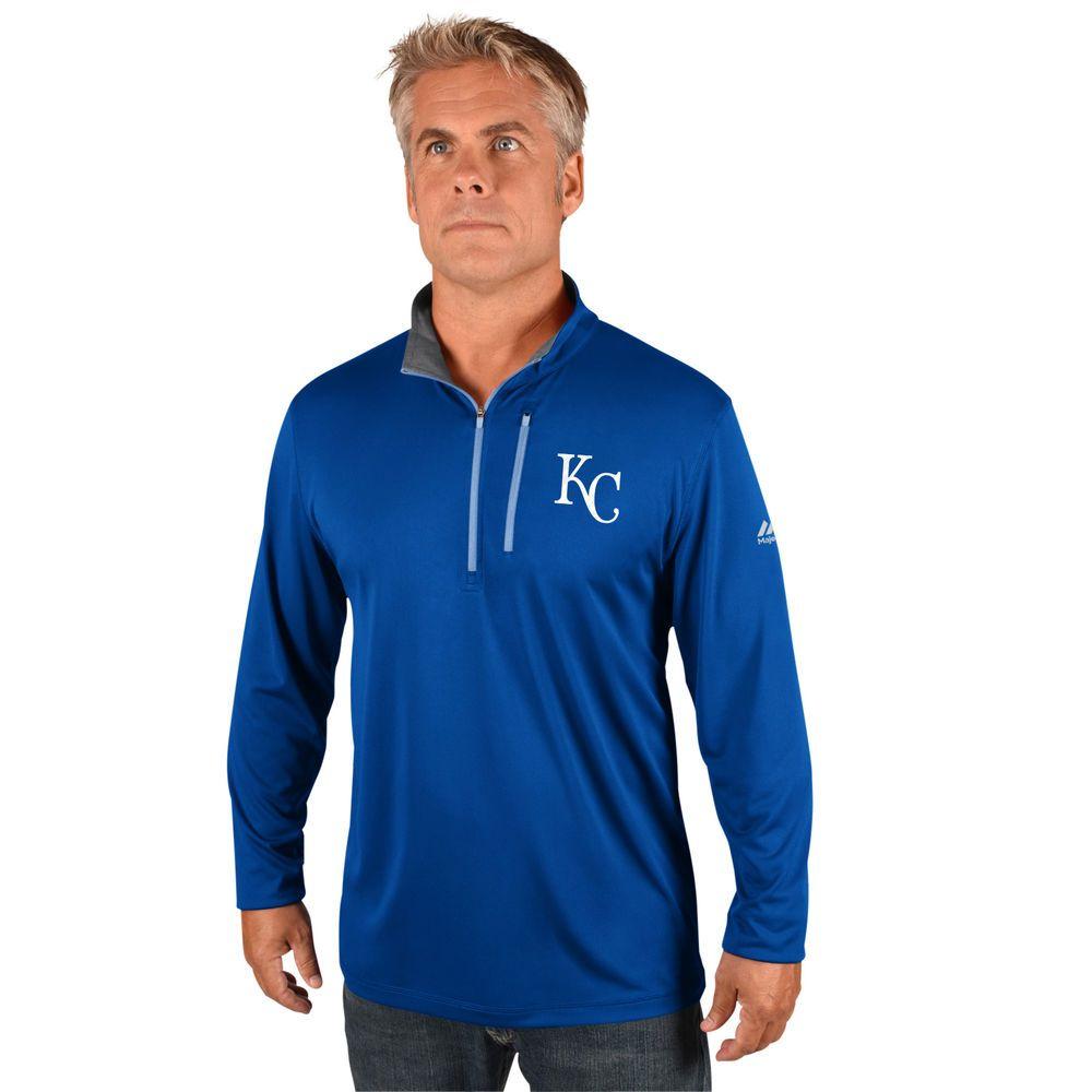 マジェスティック Majestic メンズ トップス【Kansas City Royals Big Quarter Zip Jersey Pullover (Big & Tall)】Royal