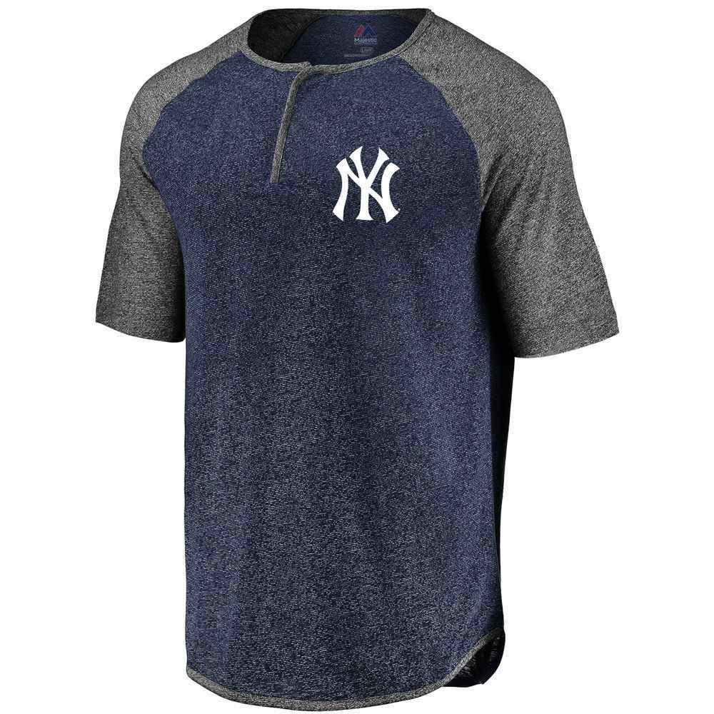 マジェスティック Majestic メンズ トップス【New York Yankees Keeping Count Adult Henley】Grey