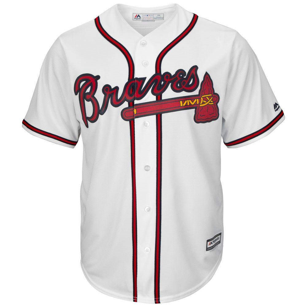 マジェスティック Majestic メンズ トップス【Atlanta Braves Big Cool Base Jersey (Big & Tall)】White