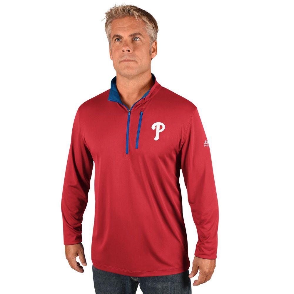 マジェスティック Majestic メンズ トップス【Philadelphia Phillies Big Quarter Zip Jersey Pullover (Big & Tall)】Red
