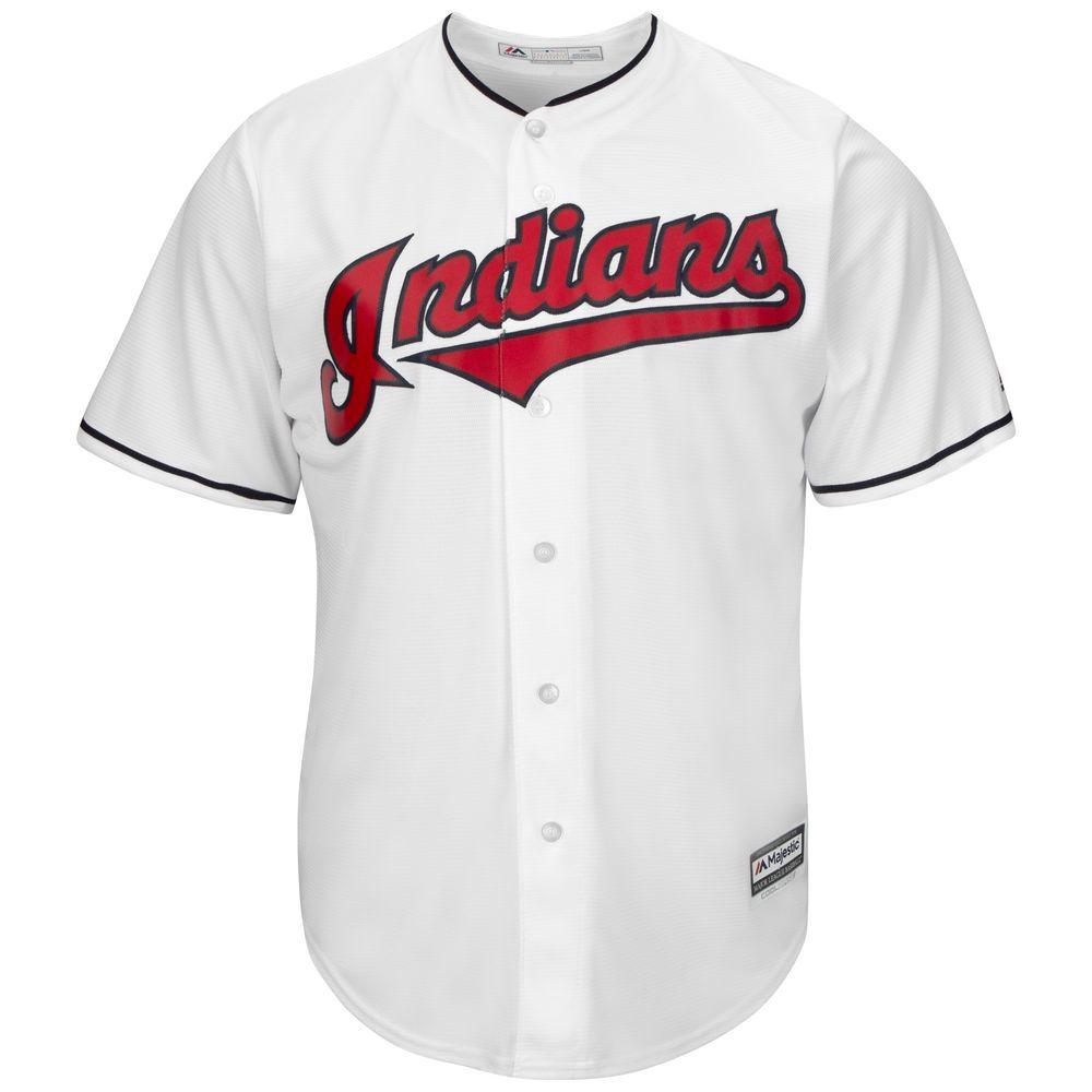 マジェスティック Majestic メンズ トップス【Cleveland Indians Big Cool Base Jersey (Big & Tall)】White