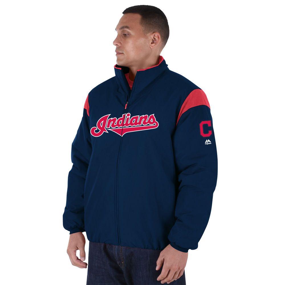 マジェスティック Majestic メンズ アウター ジャケット【Cleveland Indians Big Authentic Collection On-Field Therma Base Thermal Full-Zip Jacket (Big & Tall)】Navy