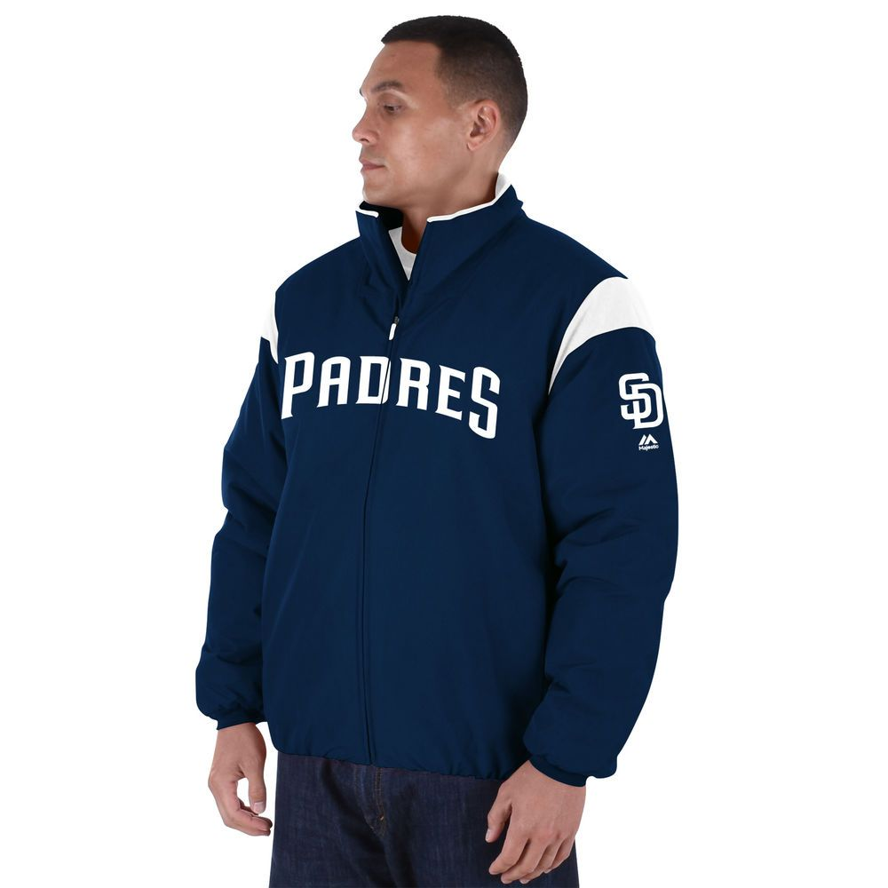 マジェスティック Majestic メンズ アウター ジャケット【San Diego Padres Big Authentic Collection On-Field Therma Base Thermal Full-Zip Jacket (Big & Tall)】Navy