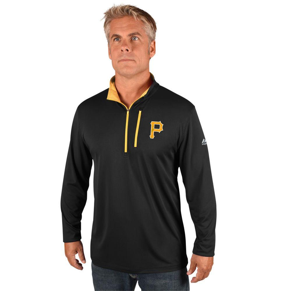 マジェスティック Majestic メンズ トップス【Pittsburgh Pirates Big Quarter Zip Jersey Pullover (Big & Tall)】Black