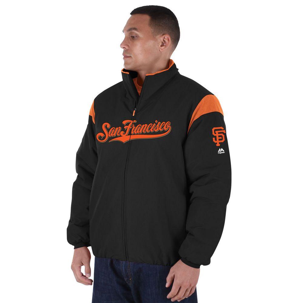 マジェスティック Majestic メンズ ジャケット アウター【San Francisco Giants Big Authentic Collection On-Field Therma Base Thermal Full-Zip Jacket (Big & Tall)】Black