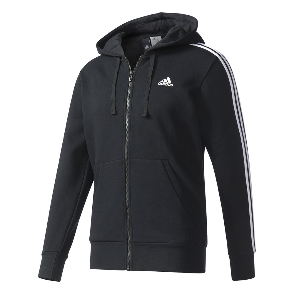 アディダス adidas メンズ トップス フリース【3 Stripes Fleece Full Zip Hoodie】Black/White