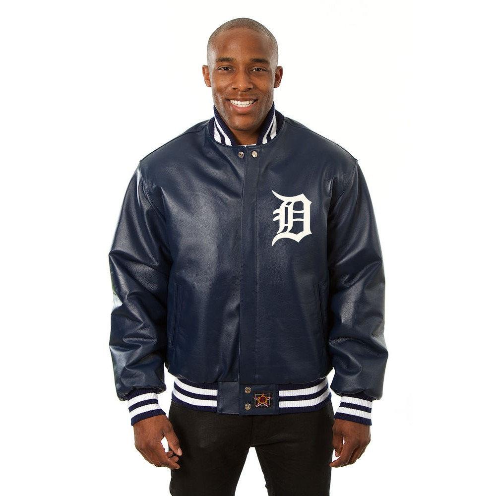 JH デザイン JH Design メンズ アウター レザージャケット【Detroit Tigers Adult Leather Jacket】Navy