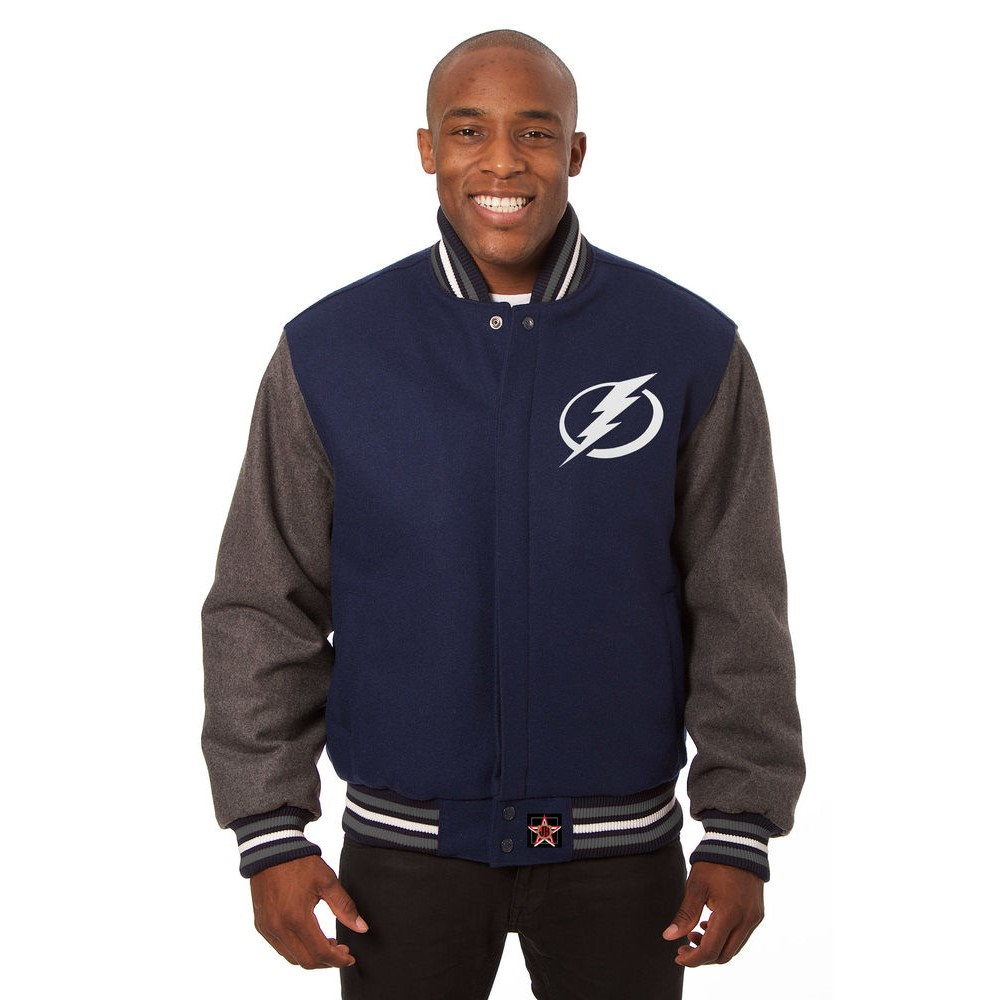 JH デザイン JH Design メンズ アウター ジャケット【Tampa Bay Lightning Adult Wool Jacket】Blue/Grey