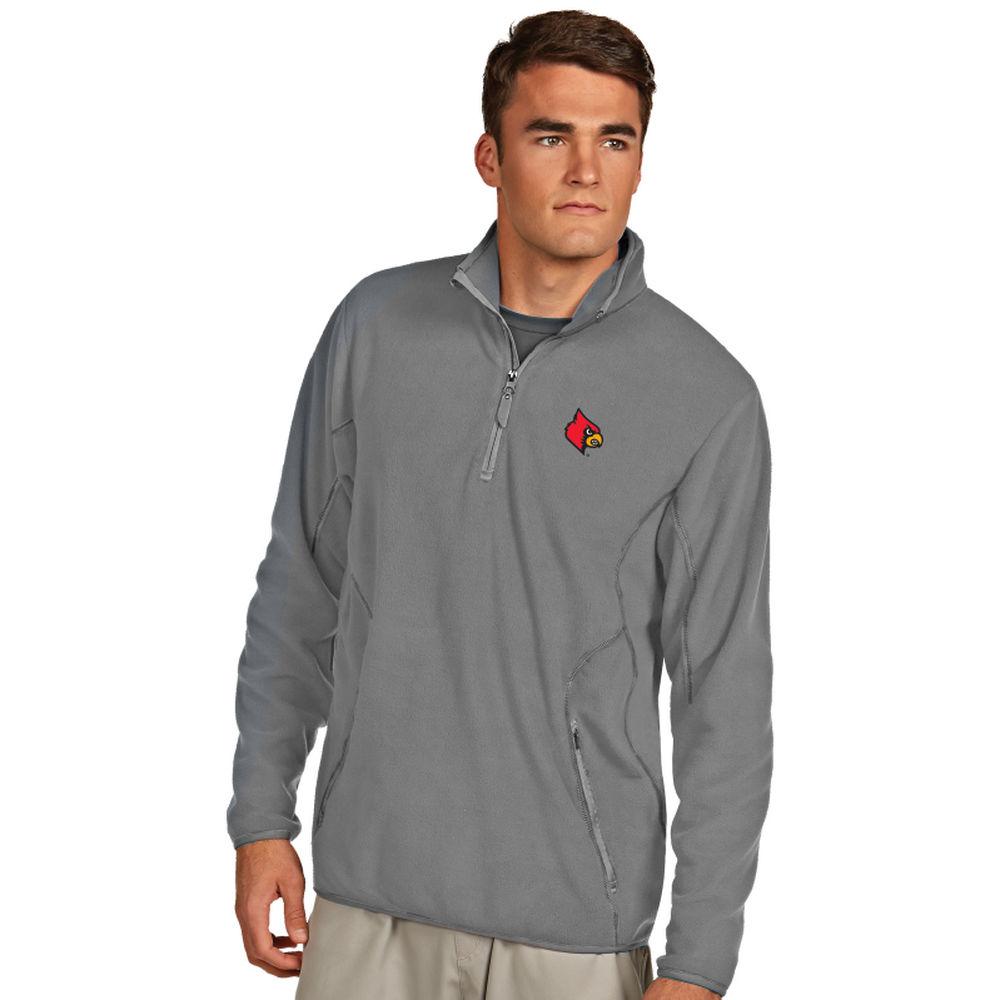 アンティグア Antigua メンズ トップス フリース【Louisville Cardinals Ice Quarter Zip Polar Fleece】Silver