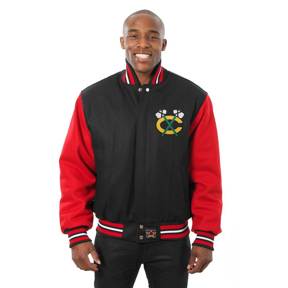 JH デザイン JH Design メンズ アウター ジャケット【Chicago Blackhawks Adult Wool Jacket】Black/Red