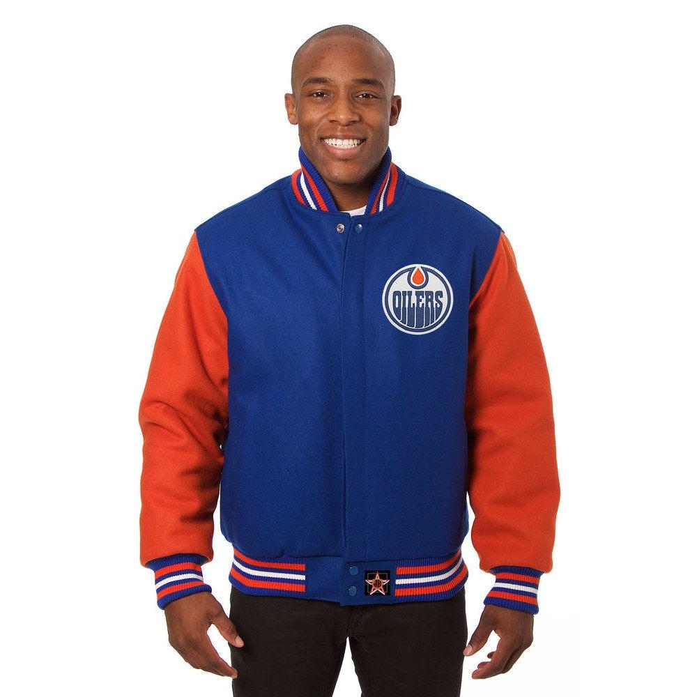 JH デザイン JH Design メンズ アウター ジャケット【Edmonton Oilers Adult Wool Jacket】Blue/Orange