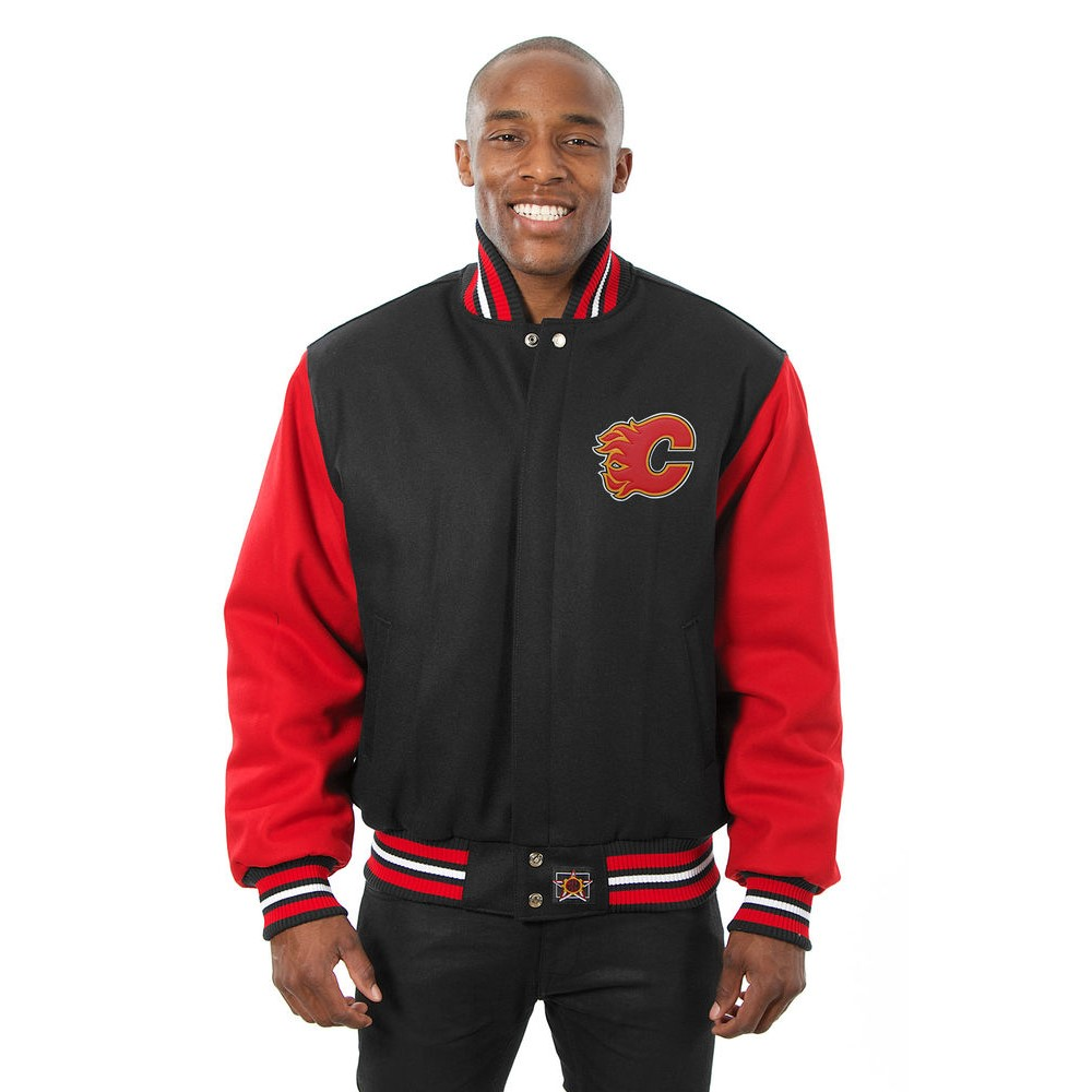 JH デザイン JH Design メンズ アウター ジャケット【Calgary Flames Adult Wool Jacket】Black/Red