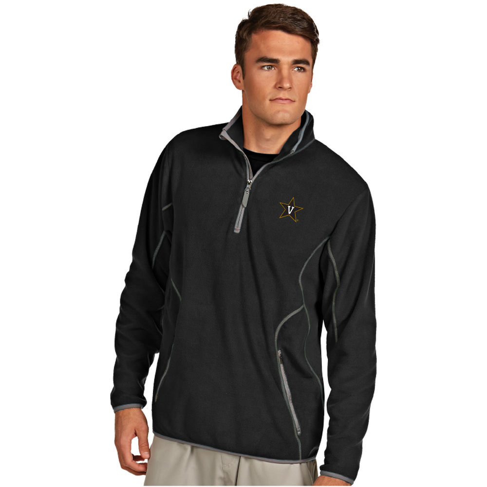 アンティグア Antigua メンズ トップス フリース【Vanderbilt Commodores Ice Quarter Zip Polar Fleece】Black/Grey