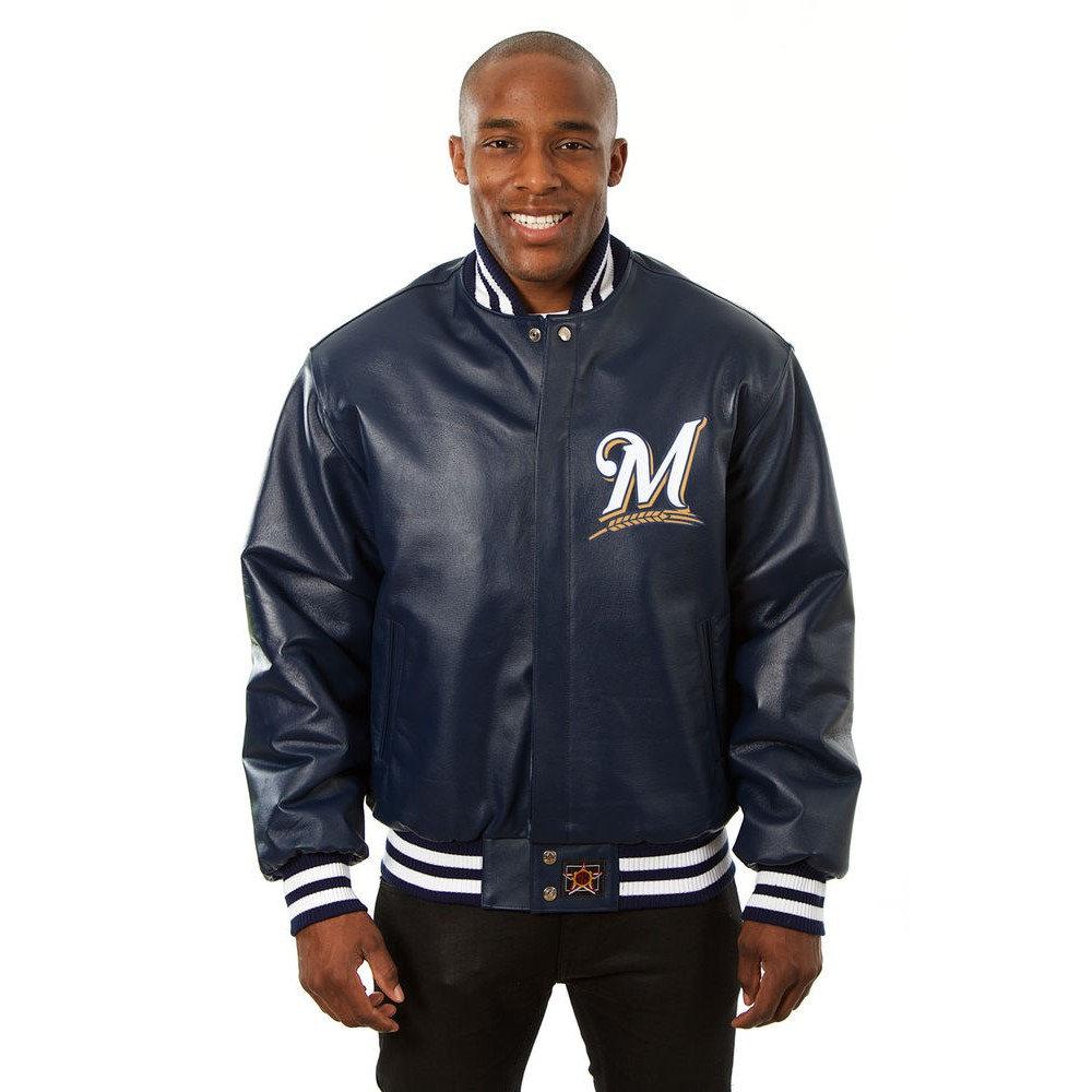 JH デザイン JH Design メンズ アウター レザージャケット【Milwaukee Brewers Adult Leather Jacket】Navy