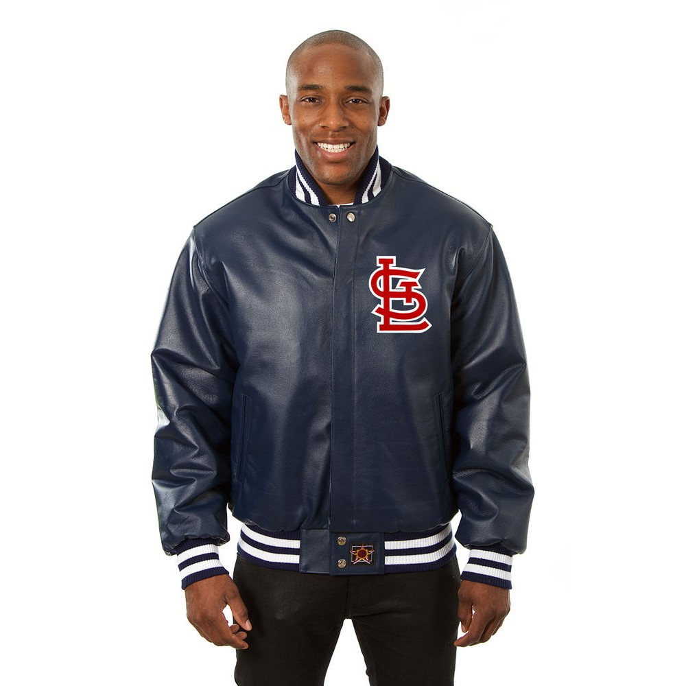 JH デザイン JH Design メンズ アウター レザージャケット【St. Louis Cardinals Adult Leather Jacket】Navy