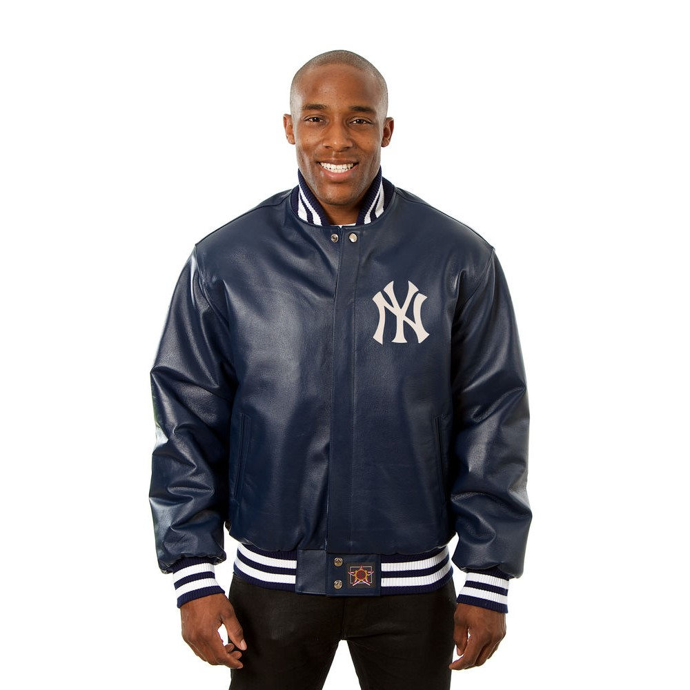 JH デザイン JH Design メンズ アウター レザージャケット【New York Yankees Adult Leather Jacket】Navy
