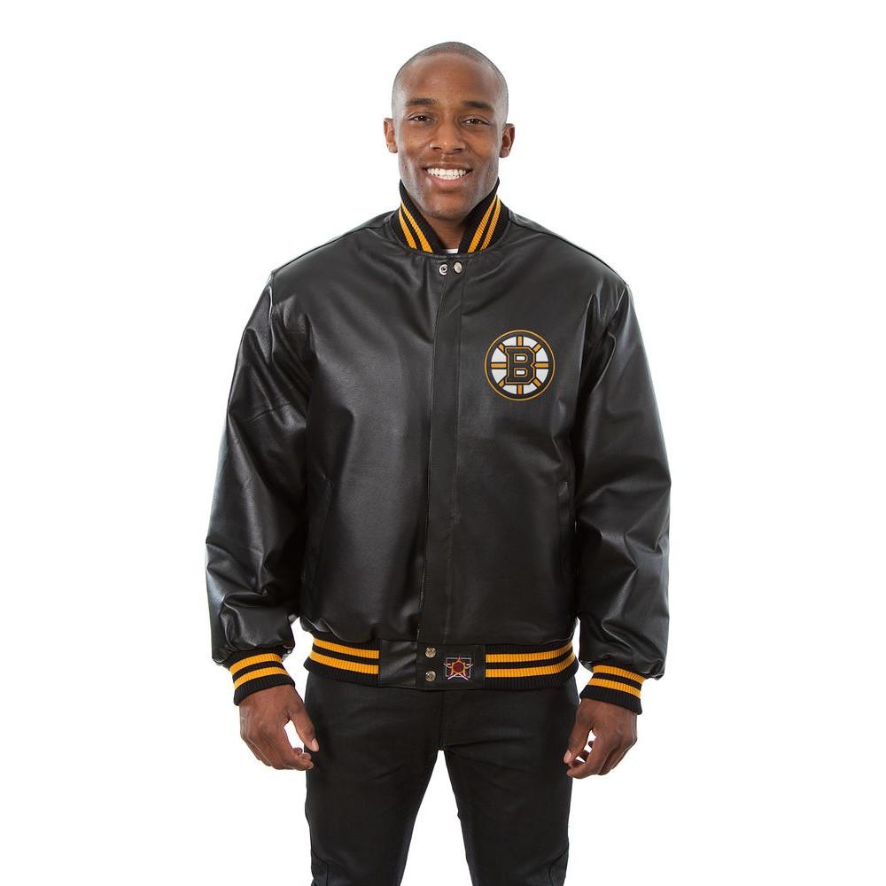JH デザイン JH Design メンズ アウター レザージャケット【Boston Bruins Adult Leather Jacket】Black