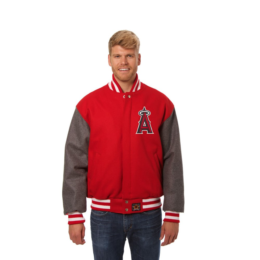 JH デザイン JH Design メンズ アウター ジャケット【Los Angeles Angels of Anaheim Adult Wool Jacket】Red/Grey