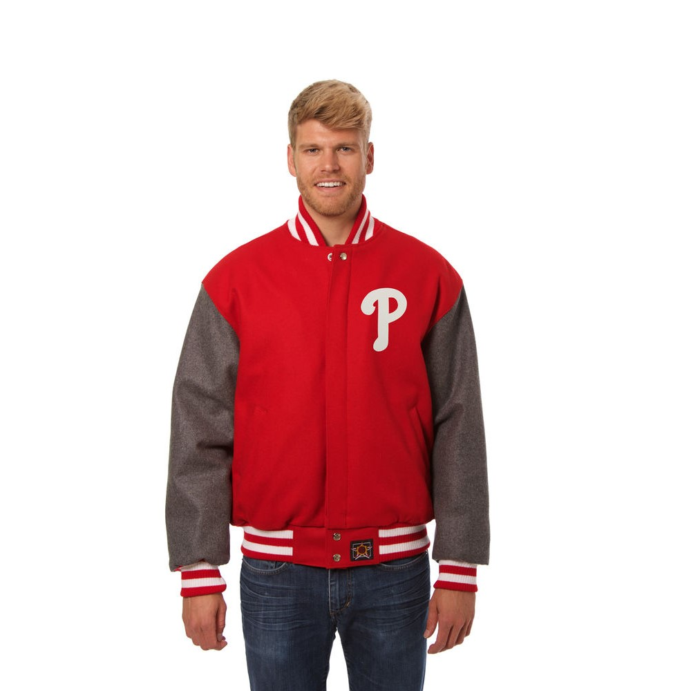 JH デザイン JH Design メンズ アウター ジャケット【Philadelphia Phillies Adult Wool Jacket】Red/Grey