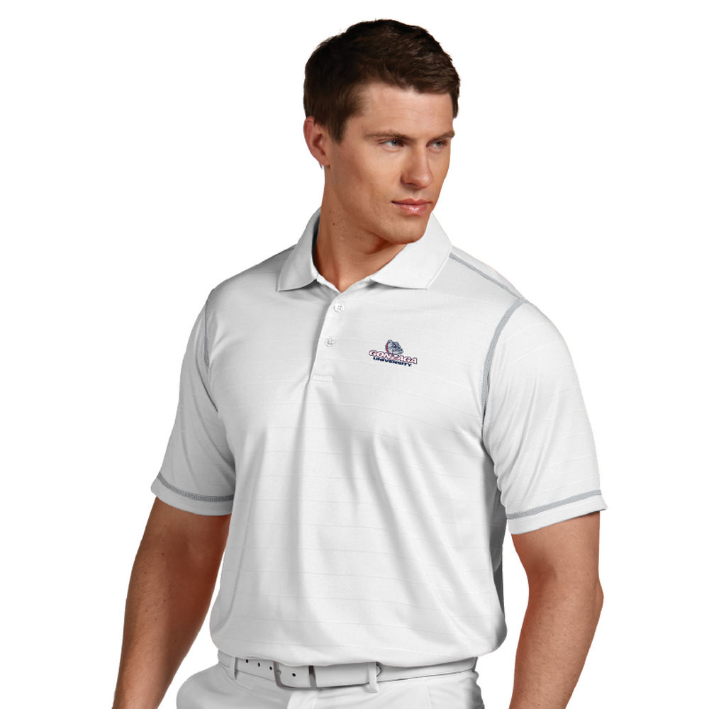 アンティグア Antigua メンズ トップス ポロシャツ【Gonzaga Bulldogs Icon Striped Polo】White/Silver