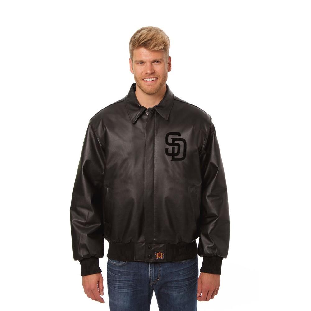 JH デザイン JH Design メンズ アウター レザージャケット【San Diego Padres Adult Leather Jacket】Black/Black