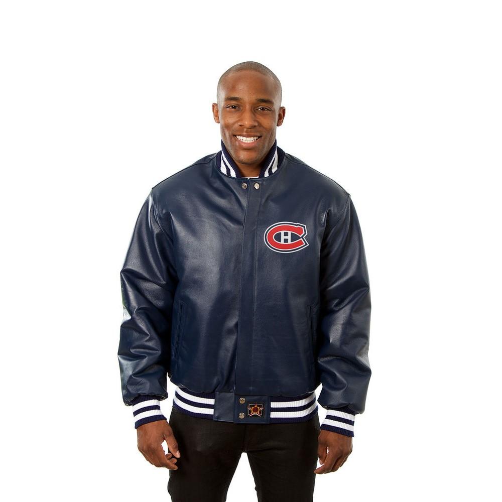 JH デザイン JH Design メンズ アウター レザージャケット【Montreal Canadiens Adult Leather Jacket】Navy