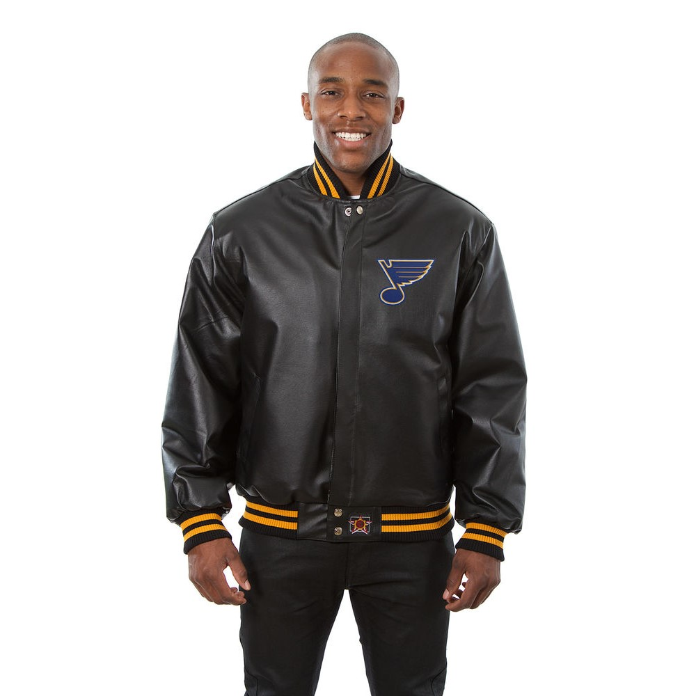 JH デザイン JH Design メンズ アウター レザージャケット【St. Louis Blues Adult Leather Jacket】Black