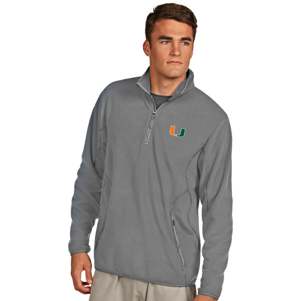 アンティグア Antigua メンズ トップス フリース【Miami Hurricanes Ice Quarter Zip Polar Fleece】Silver