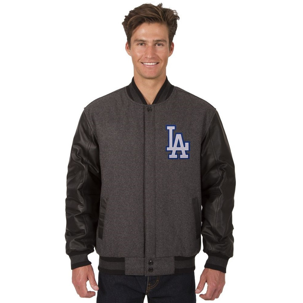JH デザイン JH Design メンズ アウター レザージャケット【Los Angeles Dodgers Adult Wool and Leather Reversible Jacket】Grey/Black