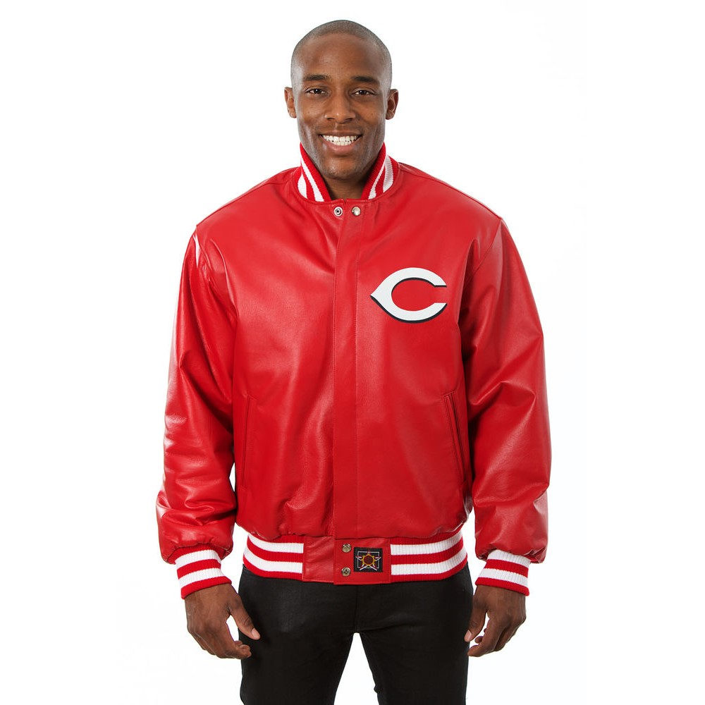 JH デザイン JH Design メンズ アウター レザージャケット【Cincinnati Reds Adult Leather Jacket】Red