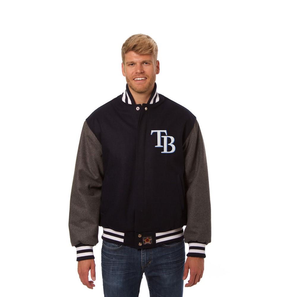 JH デザイン JH Design メンズ アウター ジャケット【Tampa Bay Rays Adult Wool Jacket】Blue/Grey