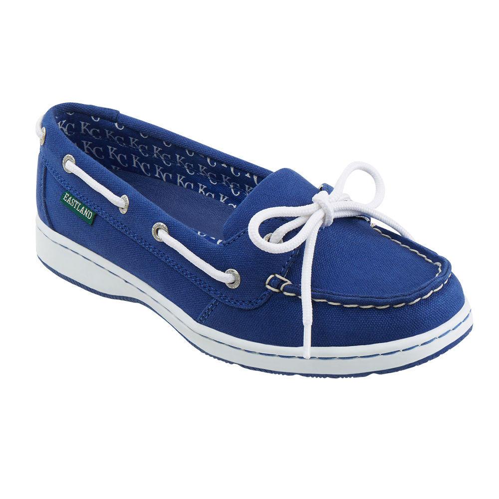 イーストランド Eastland レディース シューズ・靴 スリッポン・フラット【Sunset Kansas City Royals Boat Shoe】Navy