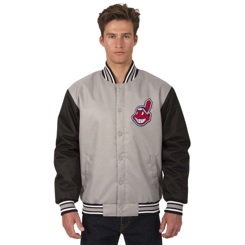 JH デザイン JH Design メンズ アウター ジャケット【Cleveland Indians Adult Polytwill Jacket】Grey/Black