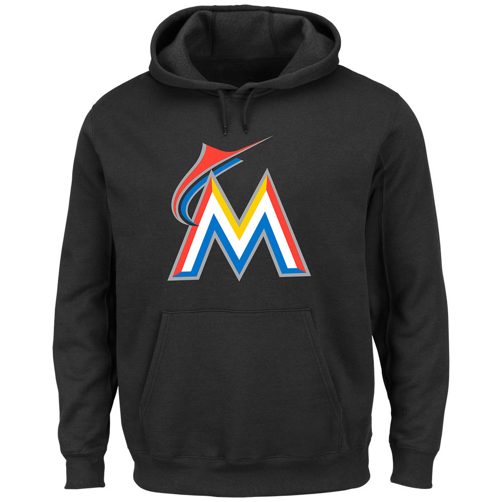 マジェスティック Majestic メンズ トップス パーカー【Miami Marlins Adult Scoring Position Hoodie】Black