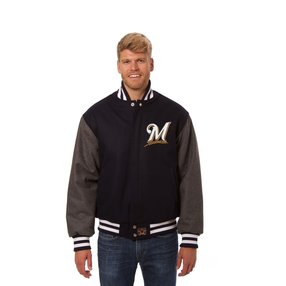 JH デザイン JH Design メンズ アウター ジャケット【Milwaukee Brewers Adult Wool Jacket】Blue/Grey