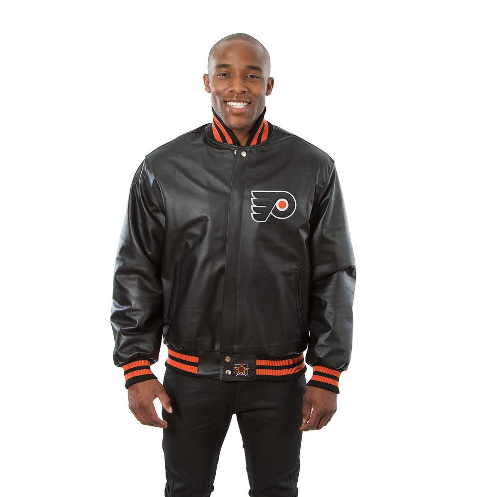 JH デザイン JH Design メンズ アウター レザージャケット【Philadelphia Flyers Adult Leather Jacket】Black