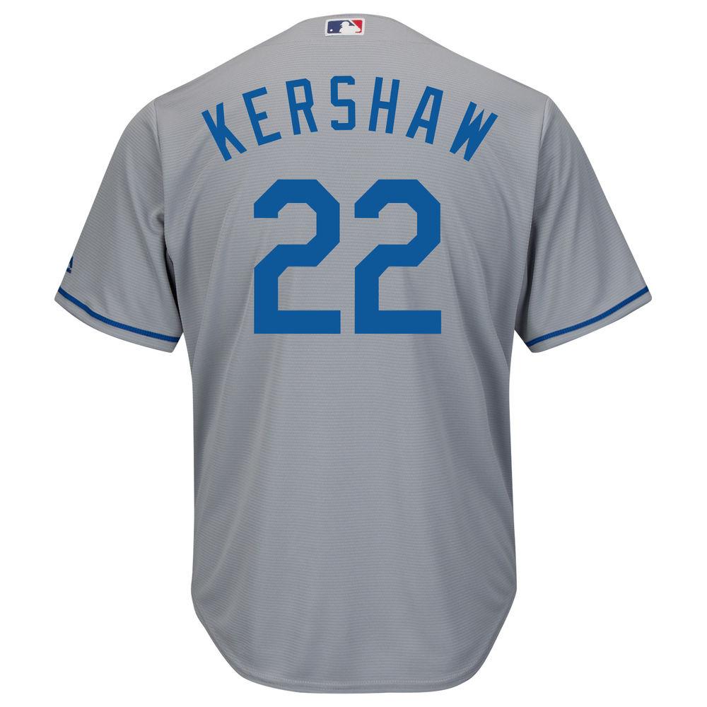 マジェスティック Majestic メンズ トップス【Los Angeles Dodgers Clayton Kershaw Adult Cool Base Replica Jersey】Grey