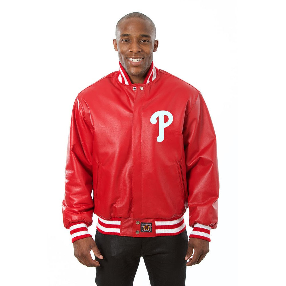 JH デザイン JH Design メンズ アウター レザージャケット【Philadelphia Phillies Adult Leather Jacket】Red