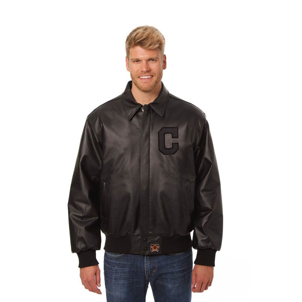 JH デザイン JH Design メンズ アウター レザージャケット【Cleveland Indians Adult Leather Jacket】Black/Black