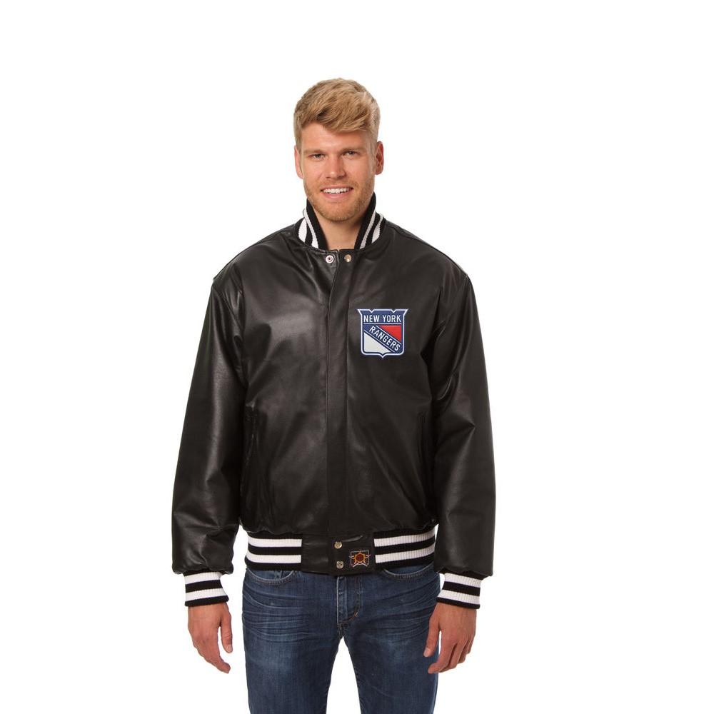 JH デザイン JH Design メンズ アウター レザージャケット【New York Rangers Adult Leather Jacket】Black