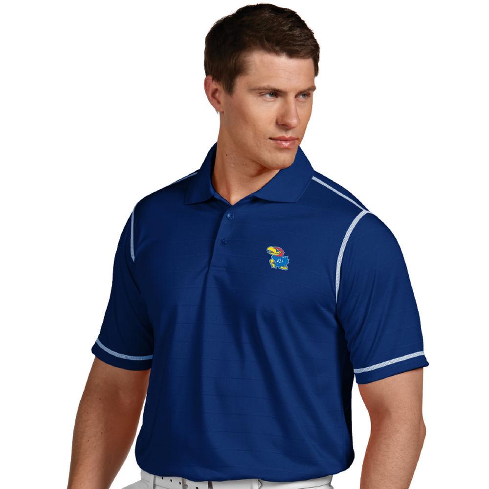 アンティグア Antigua メンズ トップス ポロシャツ【Kansas Jayhawks Icon Striped Polo】Royal